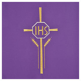 Voile de lutrin croix, IHS et épis 100% polyester s6