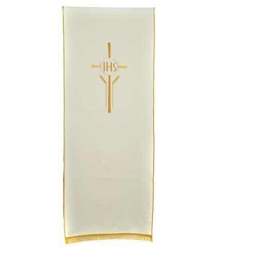 Voile de lutrin croix, IHS et épis 100% polyester 3