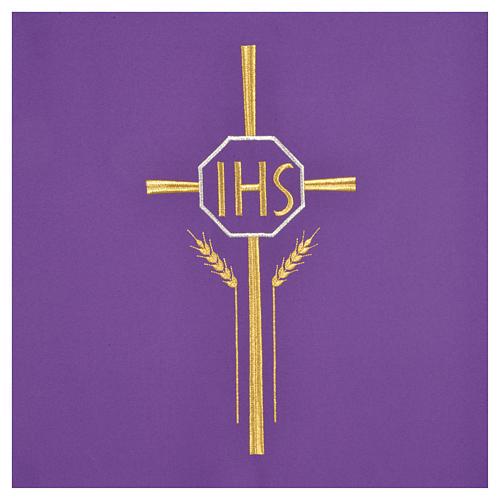 Voile de lutrin croix, IHS et épis 100% polyester 6