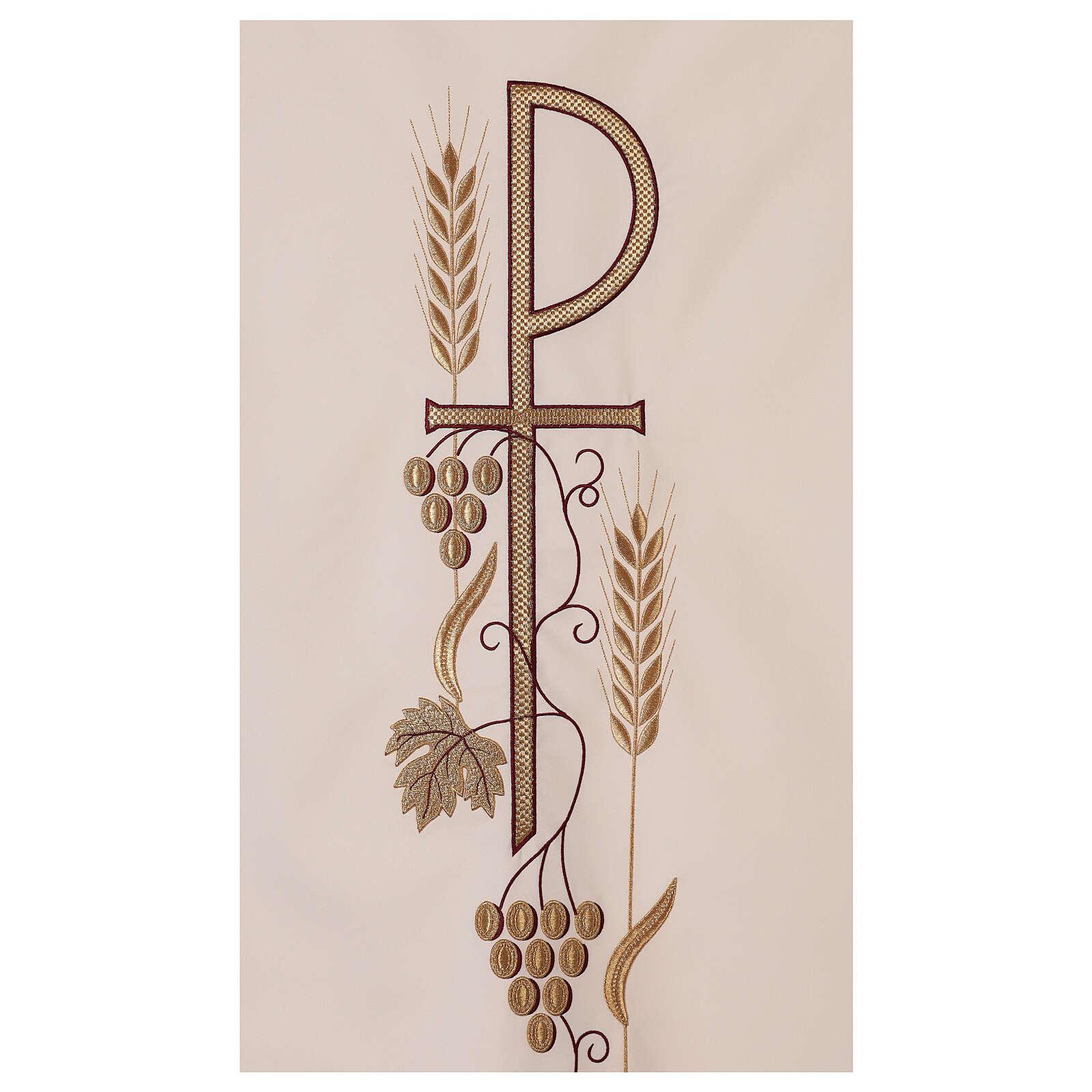 Véu de ambão trigo folha uva símbolo Chi-Rho 4