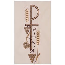 Véu de ambão trigo folha uva símbolo Chi-Rho s2