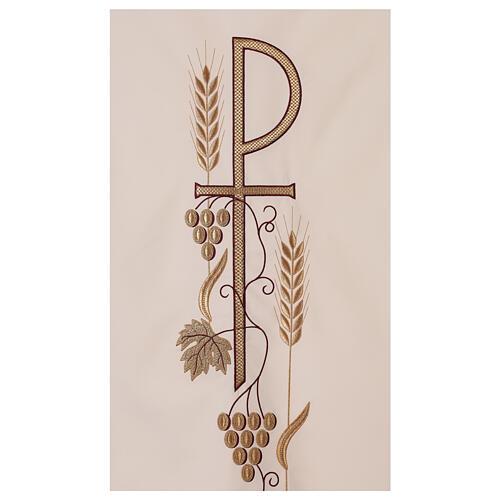 Véu de ambão trigo folha uva símbolo Chi-Rho 2