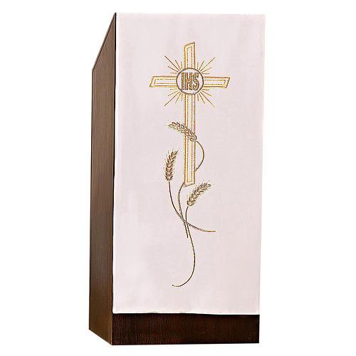Coprileggio ricami oro spighe croce JHS 10
