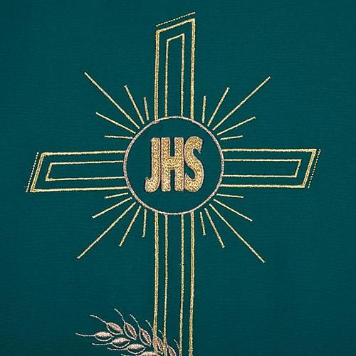 Coprileggio ricami oro spighe croce JHS 7
