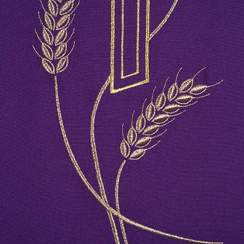 Coprileggio ricami oro spighe croce JHS 8