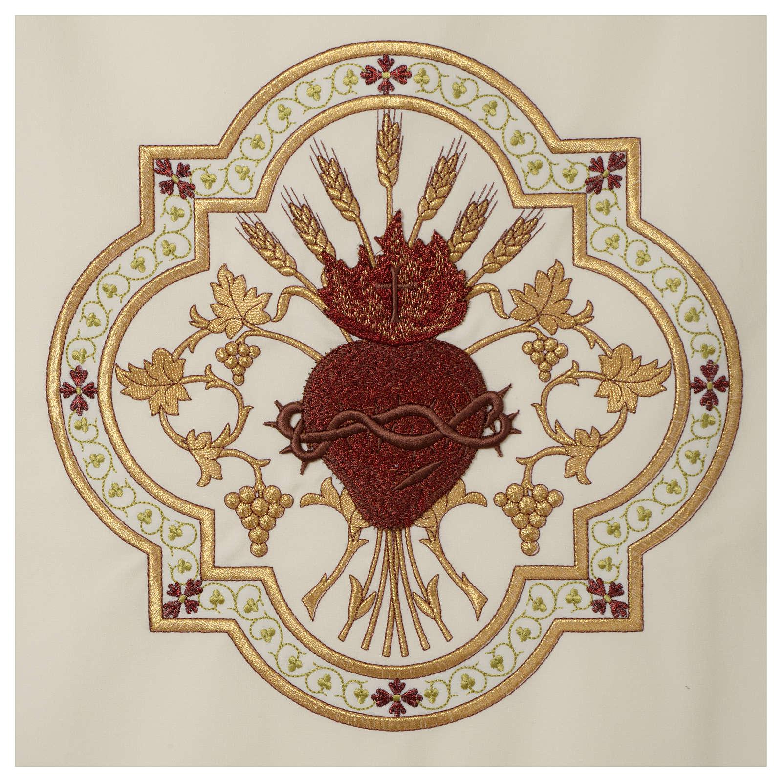 Coprileggio Sacro Cuore di Gesù ricamato rosso 4