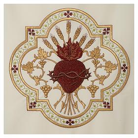 Coprileggio Sacro Cuore di Gesù ricamato rosso s3