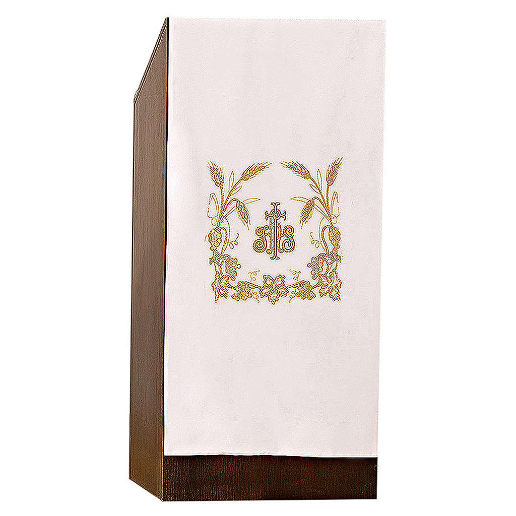 Lectern cover grapes, ears of wheat and JHS symbol 4