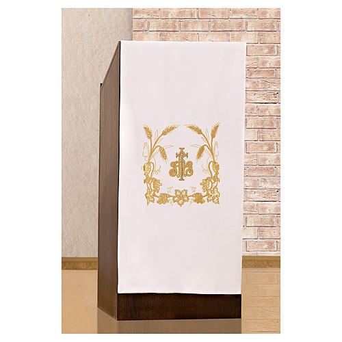 Lectern cover grapes, ears of wheat and JHS symbol 2