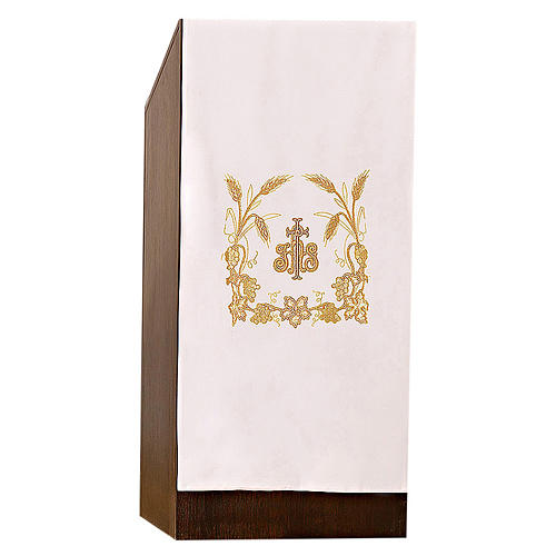 Lectern cover grapes, ears of wheat and JHS symbol 3
