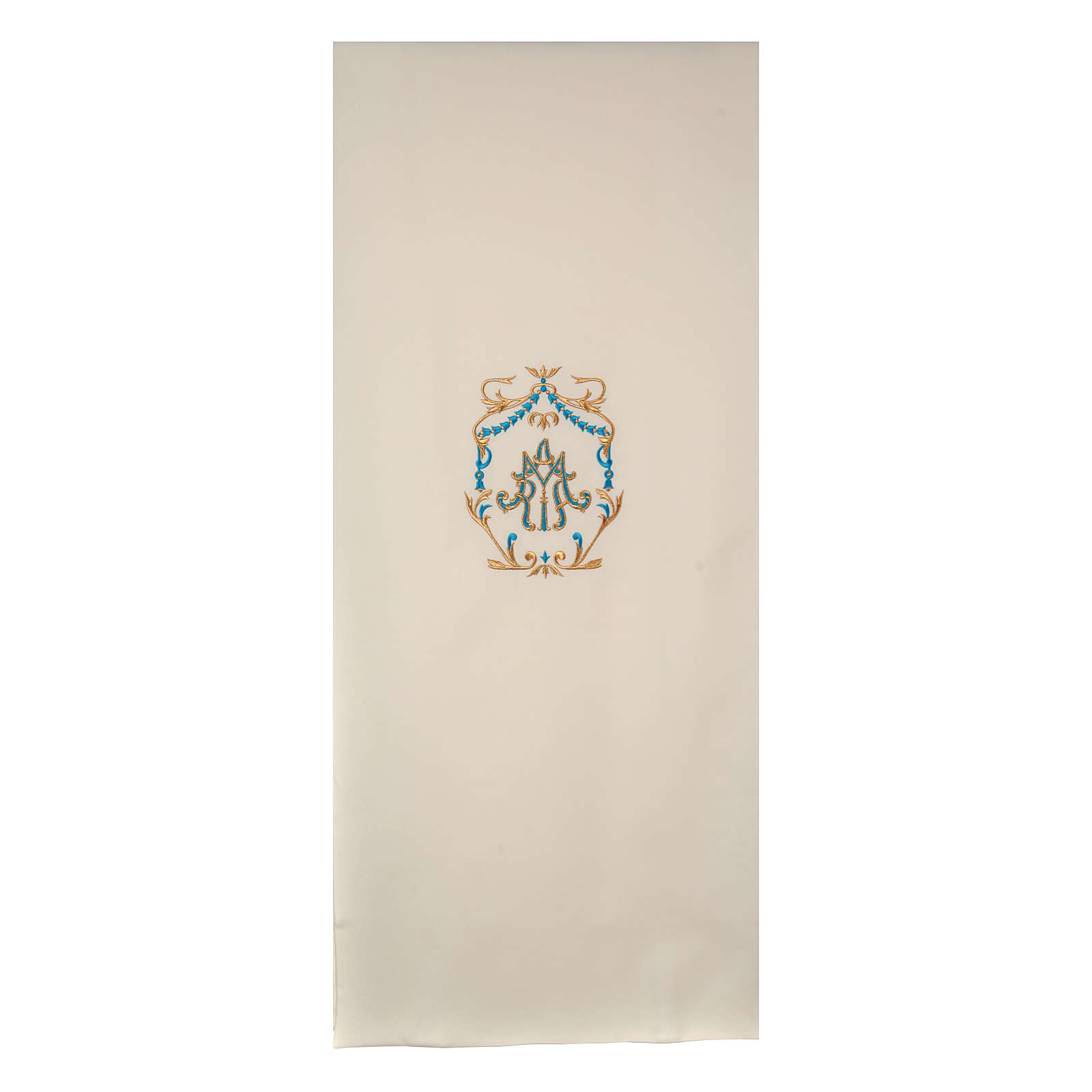 Lectern cover gold and light blue embroideries, Maria spelled 4