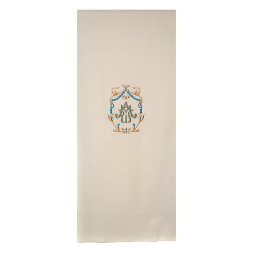 Paño de atril bordados oro y azul Santísimo Nombre de María 1