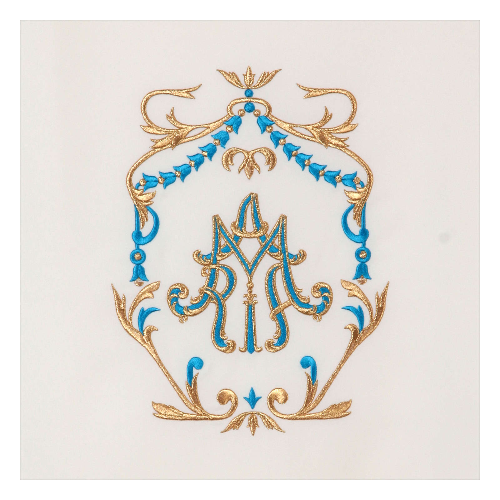 Voile lutrin broderie or et bleu initiales mariales 4