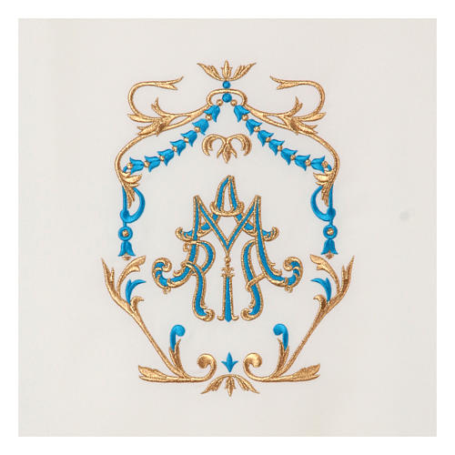 Voile lutrin broderie or et bleu initiales mariales 2
