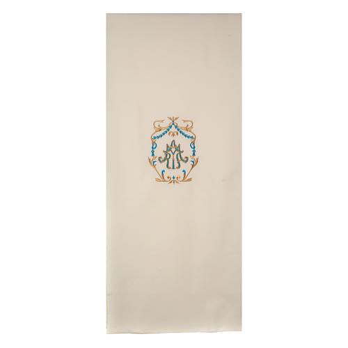 Marian pulpit cover with gold and light blue embroideries 1