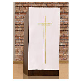 Pulpit cover with embroidered gold cross s2