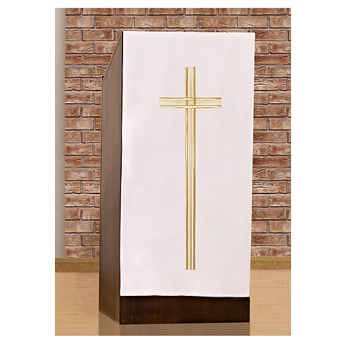 Pulpit cover with embroidered gold cross 2