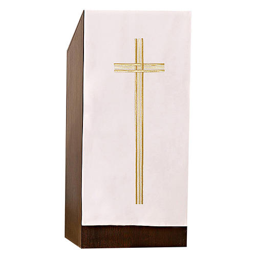 Pulpit cover with embroidered gold cross 3