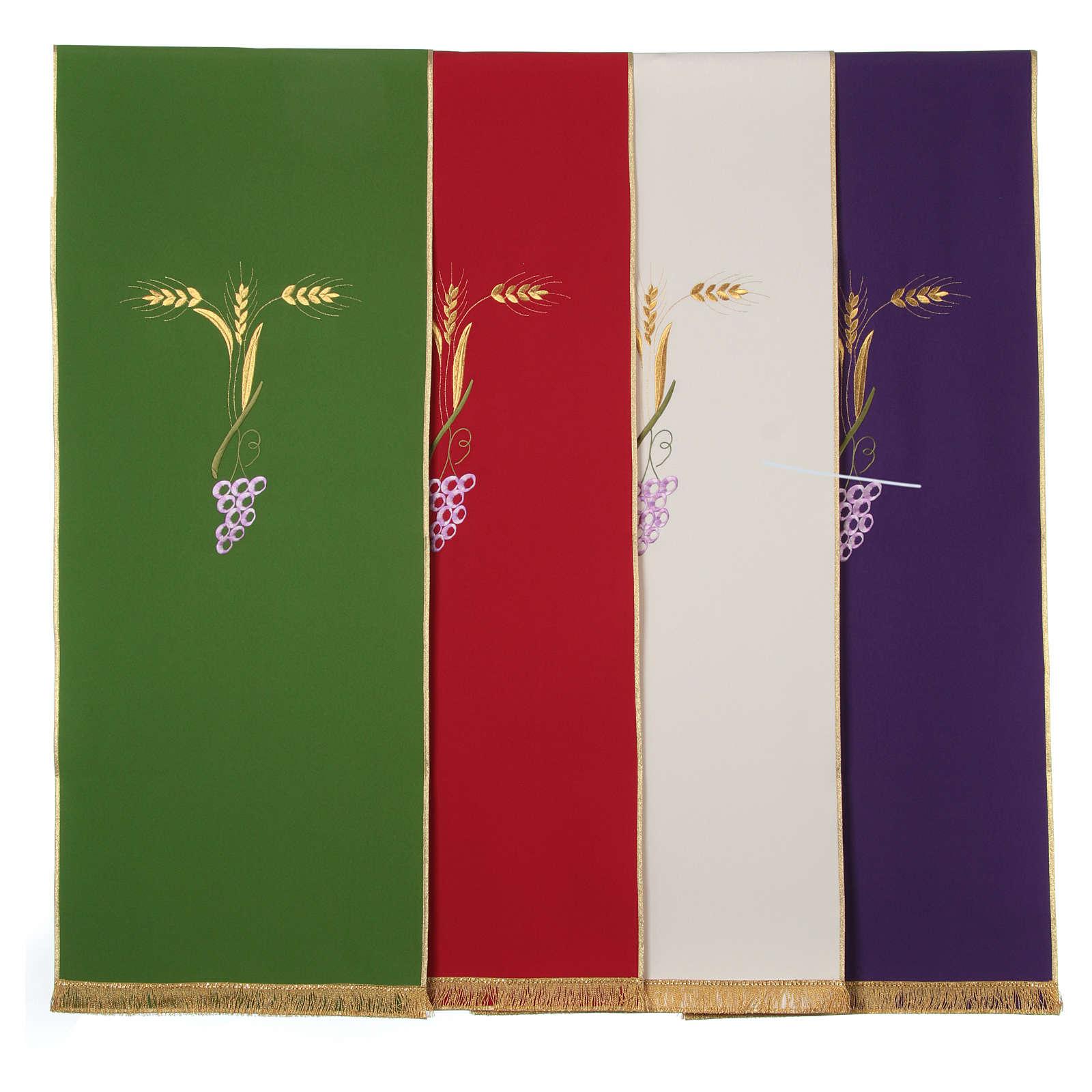 Paño de atril con tres espigas doradas y uva estilizada 4