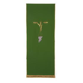 Paño de atril con tres espigas doradas y uva estilizada s4