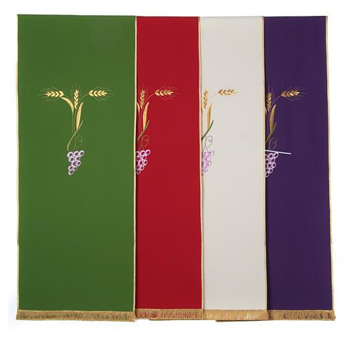 Paño de atril con tres espigas doradas y uva estilizada 1