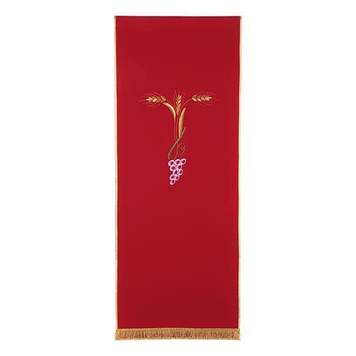Paño de atril con tres espigas doradas y uva estilizada 5