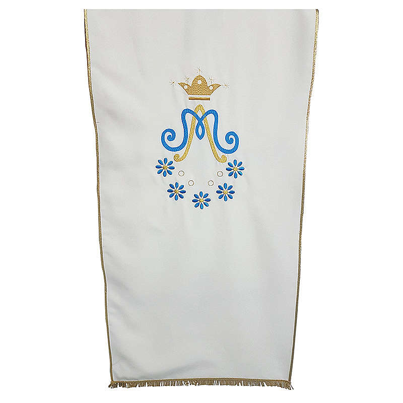 Marian Lectern cover in Vatican fabric with daisy embroidery 4