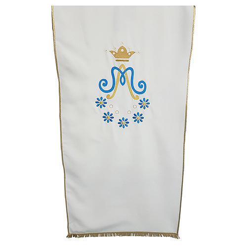 Marian Lectern cover in Vatican fabric with daisy embroidery 1