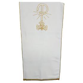 Coprileggio tessuto Vatican poliestere ricamo Pace gigli s1