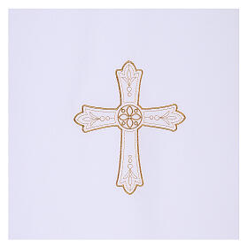 Lectern cover in Vatican fabric, polyester with cross and flower embroidery s2
