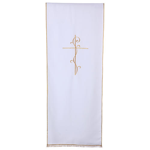 Lectern cover in Vatican fabric, polyester with cross embroidery 1