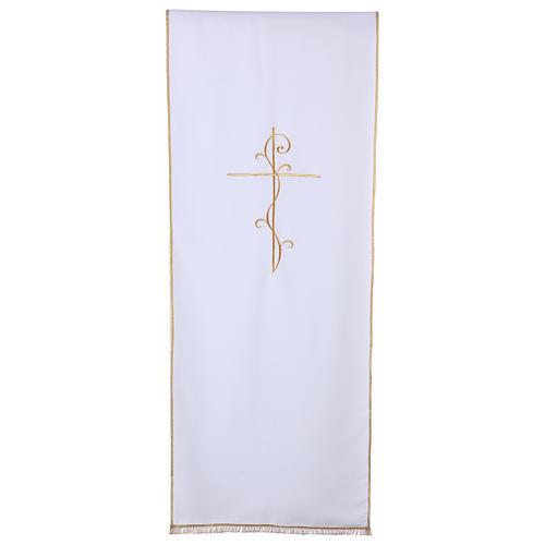 Véu para ambão tecido Vatican poliéster bordado cruz 1