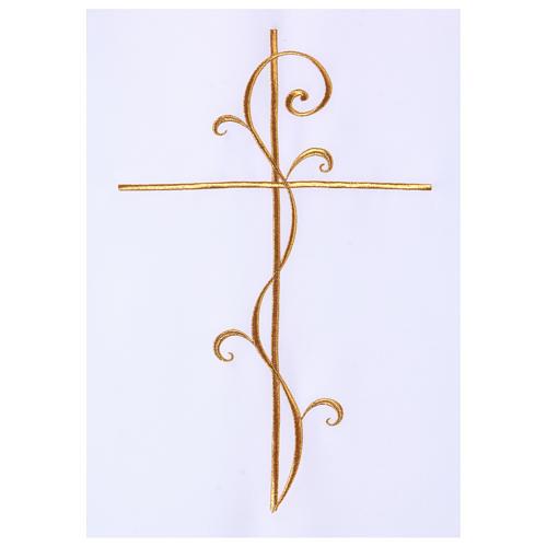 Véu para ambão tecido Vatican poliéster bordado cruz 2