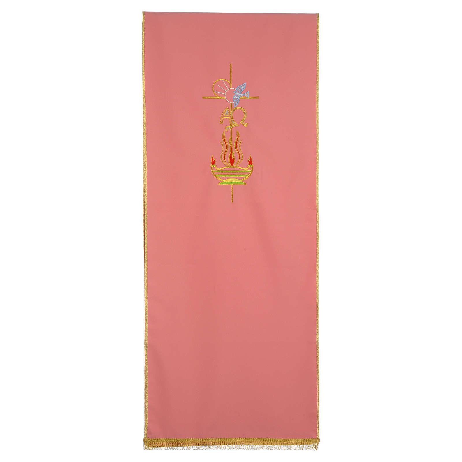 Coprileggio rosa 100% poliestere croce alfa omega fiamma 4