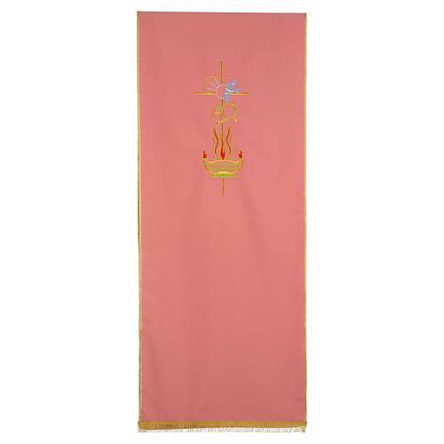 Coprileggio rosa 100% poliestere croce alfa omega fiamma 1