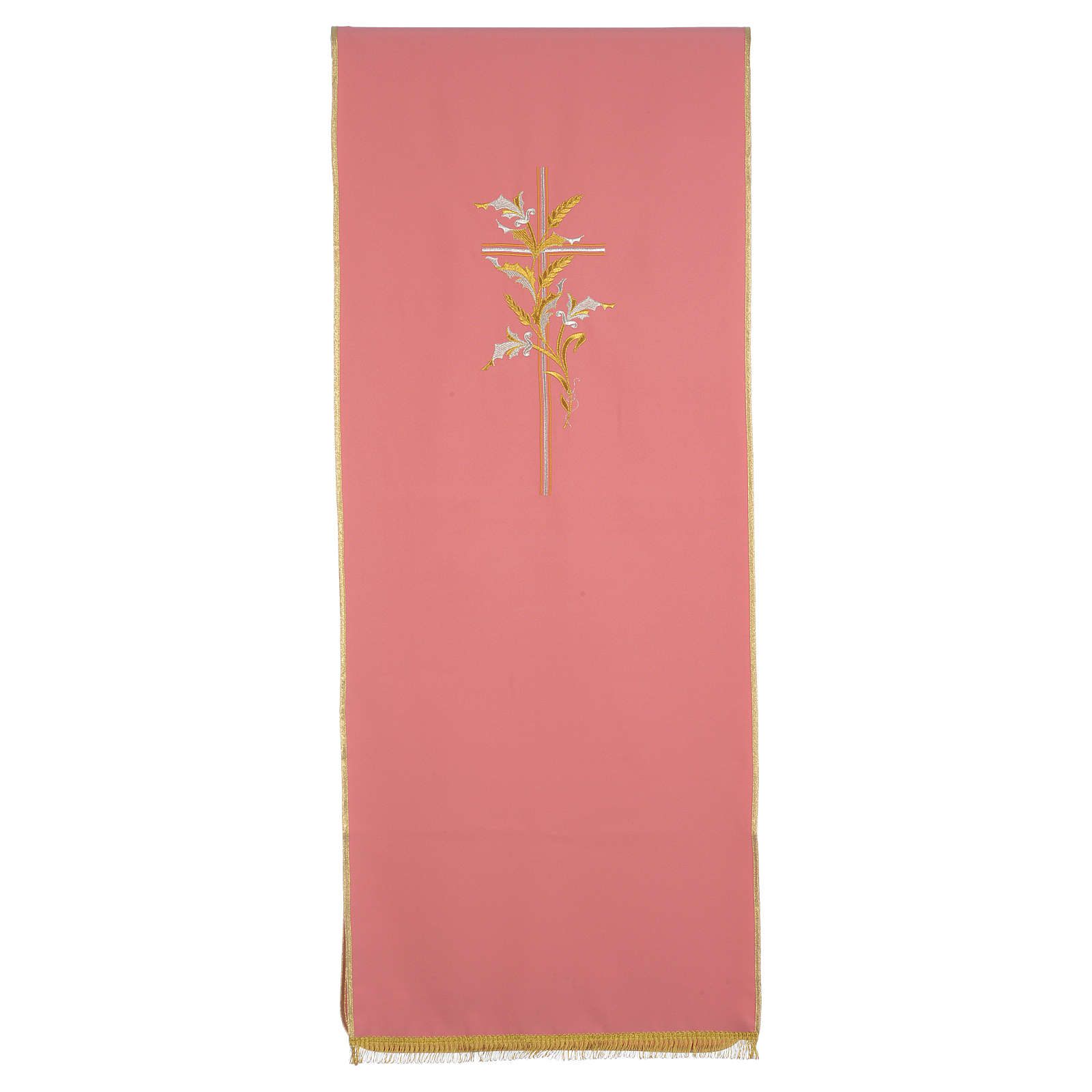 Lectern Cover in polyester with cross and ears of wheat, rose 4