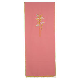 Lectern Cover in polyester with cross and ears of wheat, rose s1