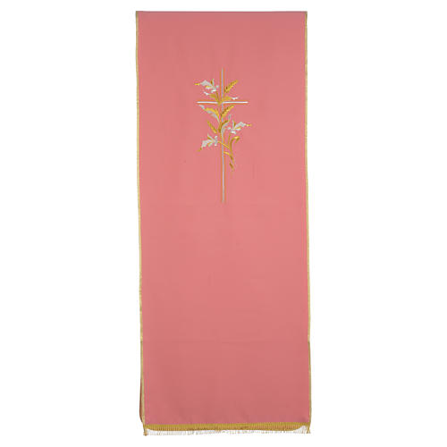 Lectern Cover in polyester with cross and ears of wheat, rose 1