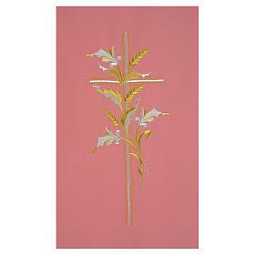 Coprileggio rosa 100% poliestere croce spighe s2