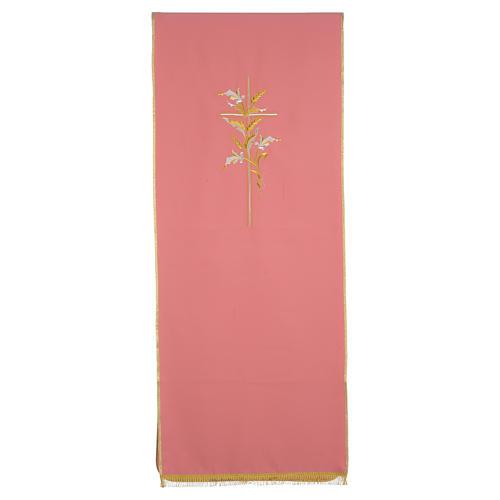 Coprileggio rosa 100% poliestere croce spighe 1
