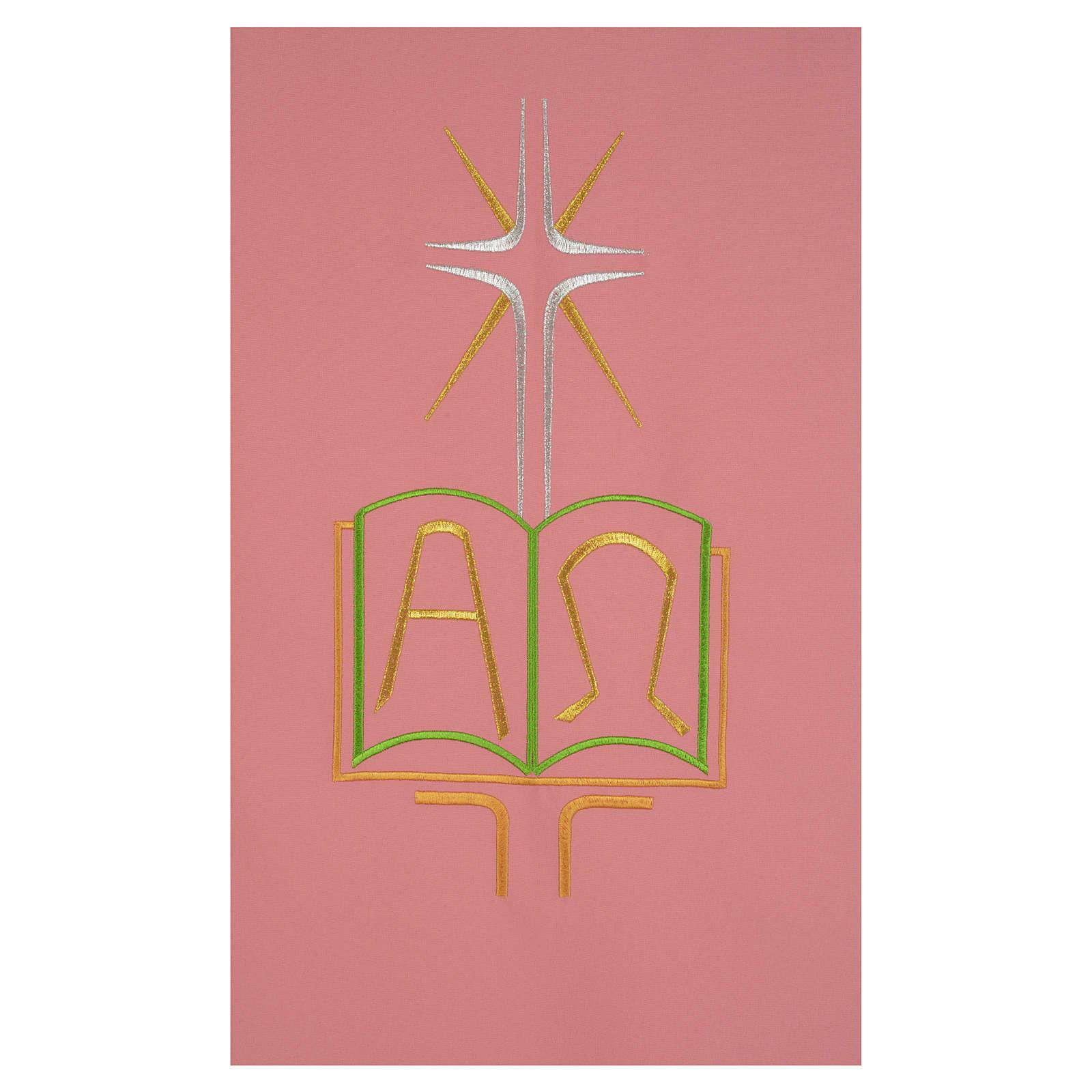 Paño de atril rosa 100% poliéster libro alfa y omega 4
