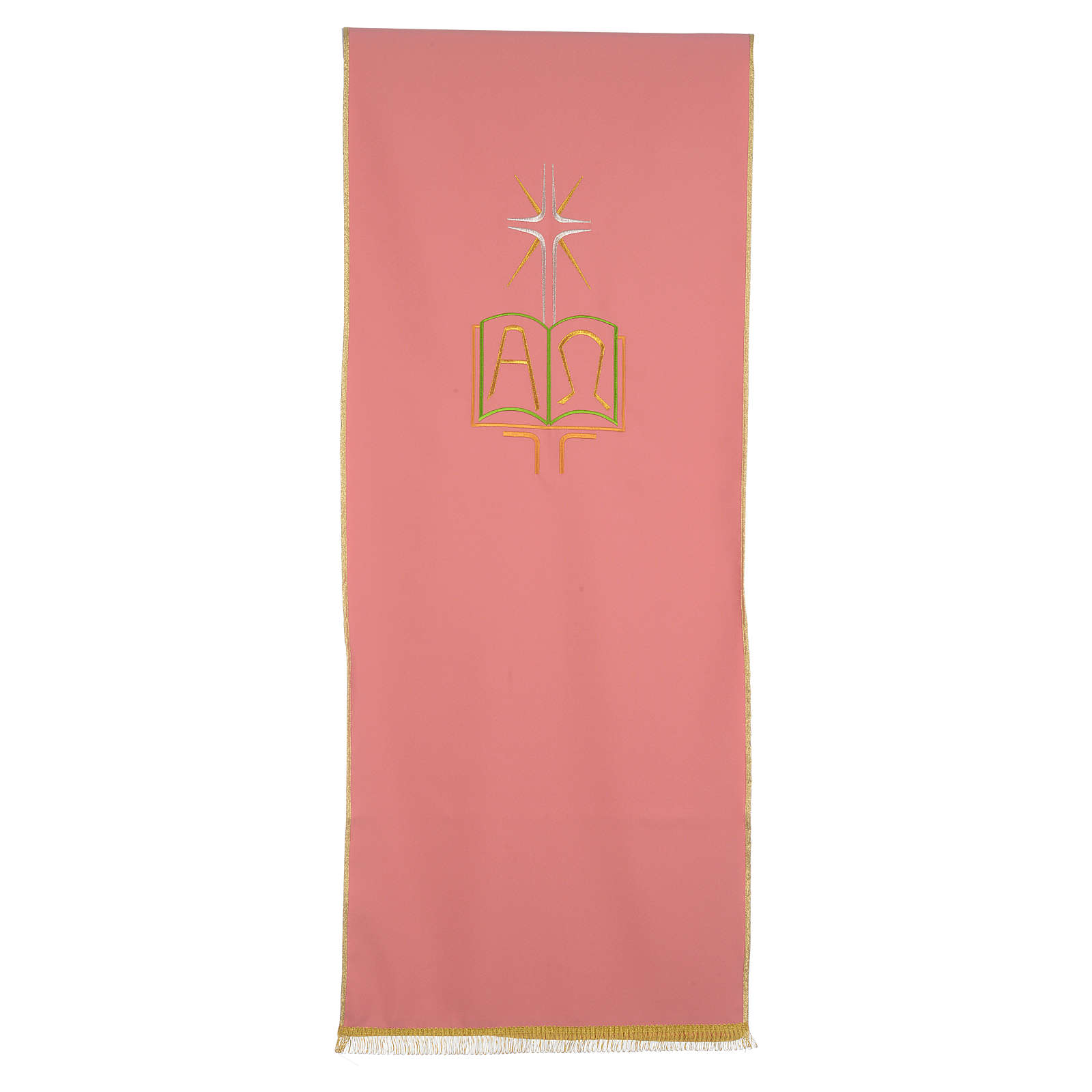 Rose pulpit cover in polyester with book Alpha and Omega 4