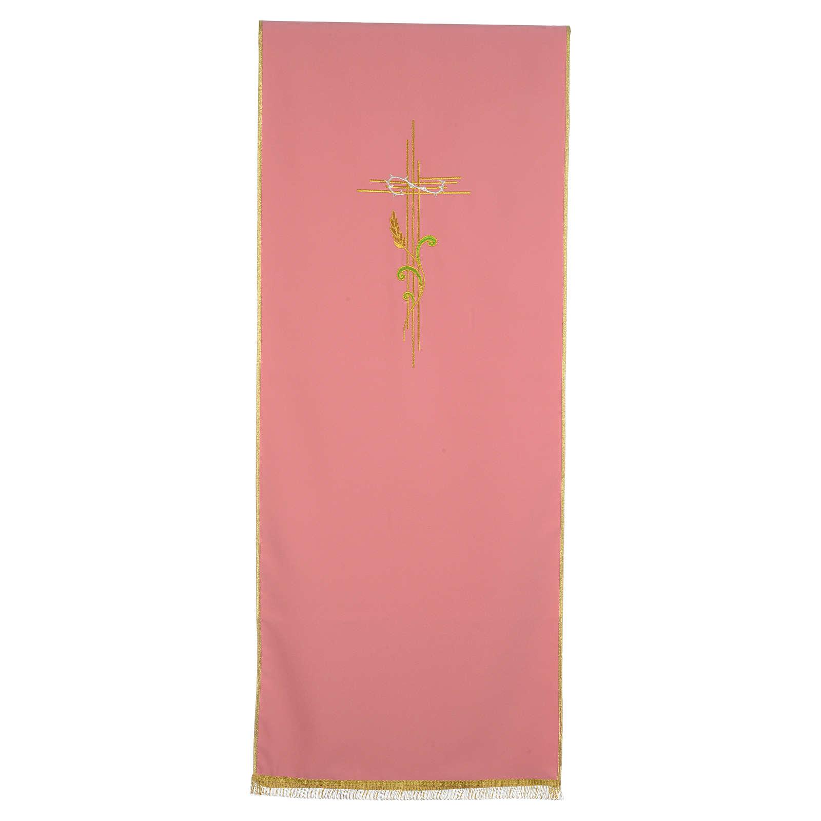 Paño de atril rosa 100% poliéster cruz estilizada y espiga entrelazada 4