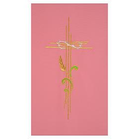 Paño de atril rosa 100% poliéster cruz estilizada y espiga entrelazada s2