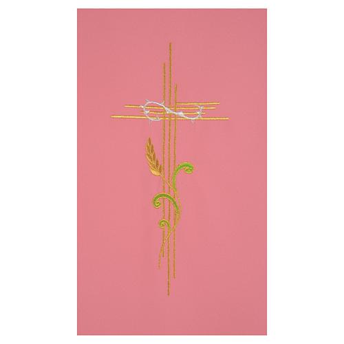 Paño de atril rosa 100% poliéster cruz estilizada y espiga entrelazada 2