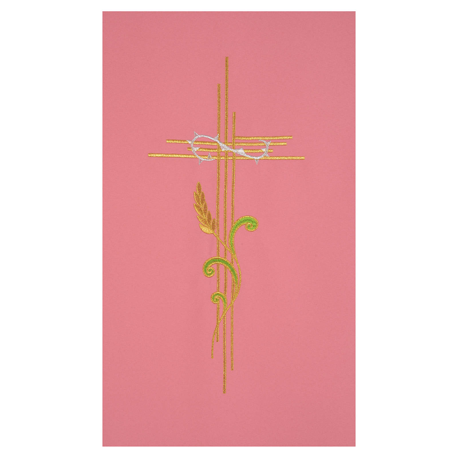 Rose pulpit cover with cross and intertwined ears of wheat 4