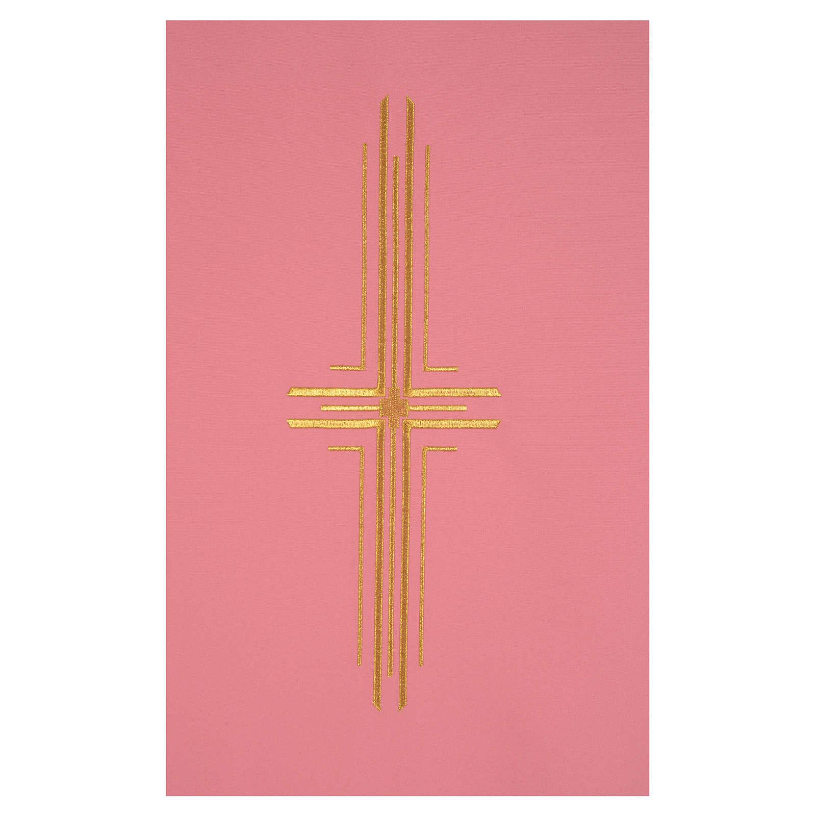 Paño de atril rosa 100% poliéster cruz estilizada 4
