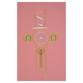 Paño de atril rosa 100% poliéster cruz estilizada IHS XP alfa omega s2