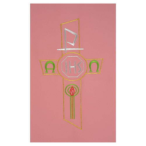 Paño de atril rosa 100% poliéster cruz estilizada IHS XP alfa omega 2