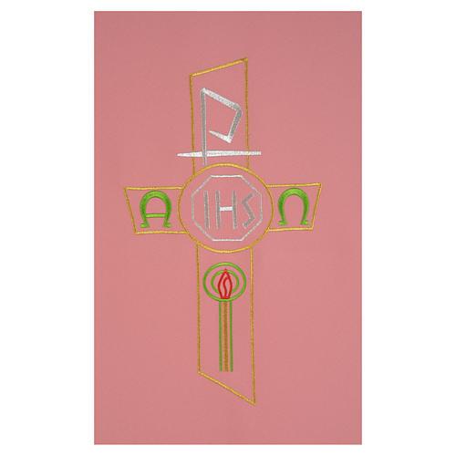 Coprileggio rosa 100% poliestere croce stilizzata IHS XP alfa omega 2